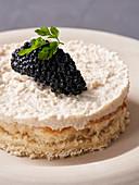 Algae caviar with horseradish cream on spelt toast (vegan)