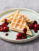 Wheat Wafers with Cherry Compote (Vegan)