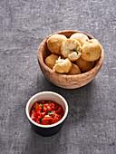 Fried soy herb quark balls with sambal oelek (vegan)