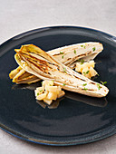 Braised chicory with pear salad (vegan)
