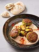 hummus plate with caramelized Brussels sprouts and falafel (vegan)