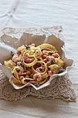 Pasta with shrimp, chickpeas and rosemary