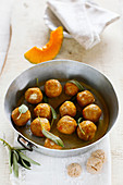 Pumpkin and amaretti gnocchi with butter and sage
