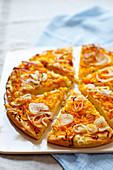 Focaccia with onions, pumpkin and rosemary
