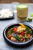 Thai squid and basil curry