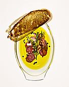 Marinated salami with crostini bread