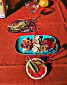 Alcohol-free pastis spritz with sage and prawns alla Saltimbocca