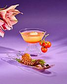 Tomato shrub cocktain with octopus a la Gallega