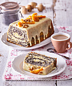 Marbled poppy cake with chocolate topping