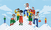 Workers on top of paper mountains, illustration