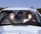 Couple wearing masks in a car, illustration