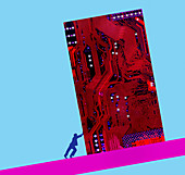 Man pushing circuit board uphill, illustration
