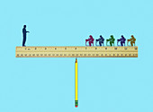 Teacher and pupils balancing on seesaw, illustration