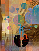 Businesspeople networking, illustration