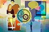 Global communication, conceptual illustration
