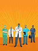 Frontline health workers, illustration
