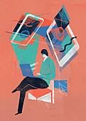 Man working on a laptop, illustration
