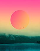 Sun over a lake, illustration
