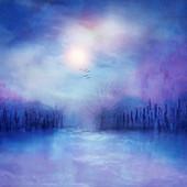 Sun above a misty coast, illustration