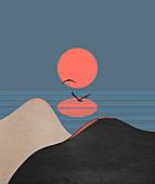 Sun above abstract landscape, illustration