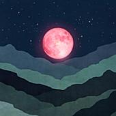Pink moon above landscape, illustration