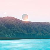 Pink sun above turquoise lake, illustration