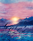 Sun setting over a mountain lake, illustration
