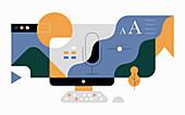 Digital communication, illustration