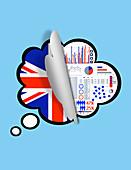 Revealing survey results of UK population, illustration