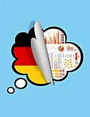 Revealing survey results of Germany population, illustration