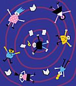 Distressed children falling in vortex, illustration