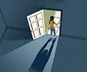 Agoraphobia, conceptual illustration