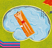Man relaxing in brain shaped swimming pool, illustration