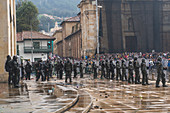 Police officers at 2021 Colombia tax reforms protests