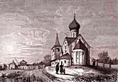 Russian village church, 19th century illustration