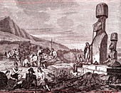 La Perouse on Easter Island, 19th century illustration