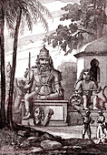Idols and statues, Pondicherry, India, illustration