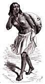 Eritrean woman carrying water, 19th century illustration