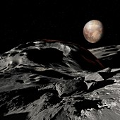 Pluto seen from Charon, illustration