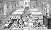 Public reading rooms, 19th century illustration