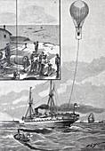 Balloon trials at sea, Germany, 19th century illustration