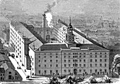 Tobacco factory, Baltimore, USA, 19th century illustration