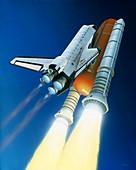 Space shuttle Atlantis lifting off, illustration