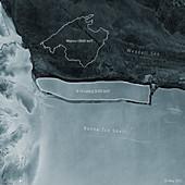 A-76 iceberg calving from Ronne Ice Shelf, satellite image
