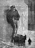Shoeshiner in London, England, 19th century illustration