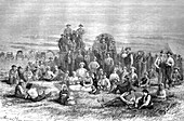 Group of Mormons heading west, 19th century illustration
