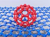 Buckyball C60 molecule and graphene sheet, illustration