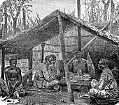 Men of the Kabinda tribe, DRC, 19th century illustration