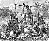 Women from the Ashanti tribe weaving, illustration