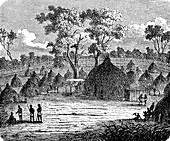 Residence of the King of Urua, 19th century illustration